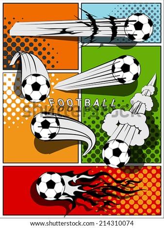 Set of football - comic style - stock vector