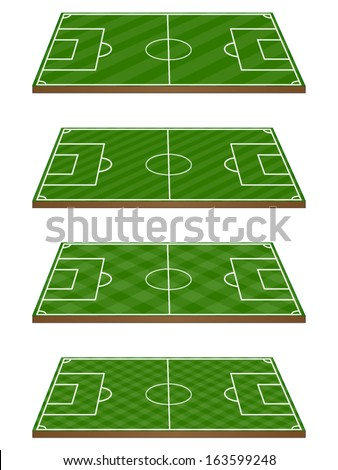 Set of Football Fields 3D Perspective 3 Diagonal Patterns - stock vector