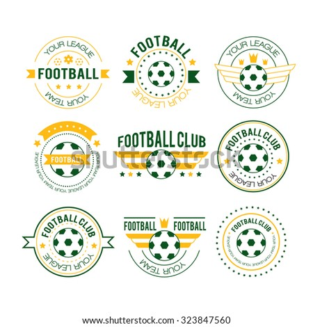 Set of football or soccer emblems, labels, logos and badges with ribbon banners, circular frame, crown and text. Football logo vector illustration. Team play in football. Logo in the liner style - stock vector