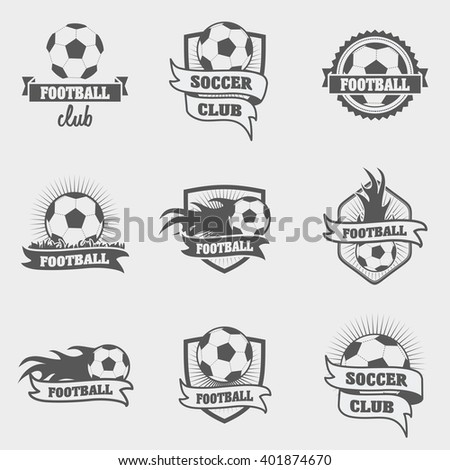 set of football or soccer labels, badges and logos. vector illustration - stock vector