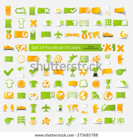 Set of football stickers - stock vector