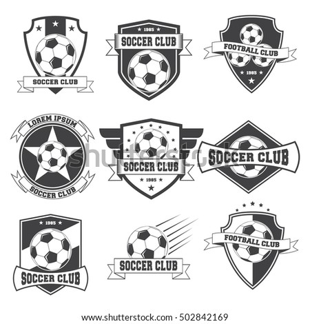 Set Of Football Vintage Soccer Crests Logos Isolated On White Background.  Vector Illustration