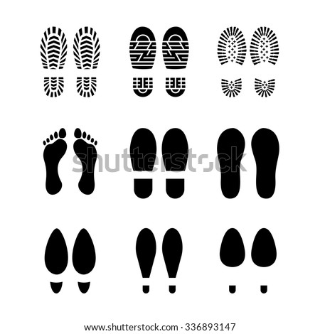 Set of footprints and shoes, vector