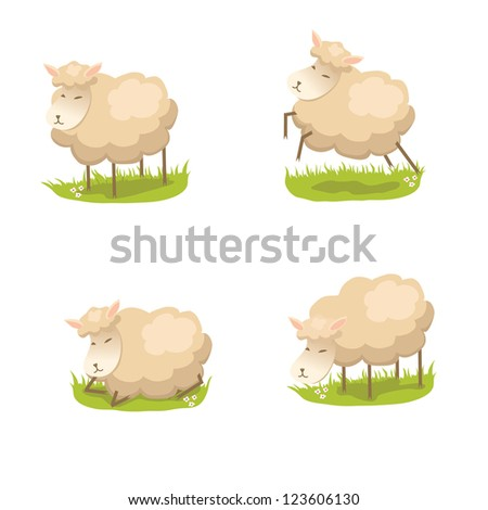 Set of for cute vector lambs in different poses - stock vector