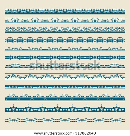 Set of for design. Border. Calligraphic design elements. Design ideas. Page border design. Frame border. Flower border. Decorative border. Vintage. Vector - stock vector