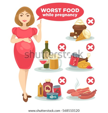 Set of forbidden food for pregnant woman and her baby. Concept maternity and pregnancy illustration. Unhealthy, junk, fast food: snack, alcohol, cake and ice-cream. Vector illustration