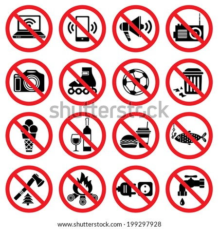 Set of forbidden signs with different designations  - stock vector