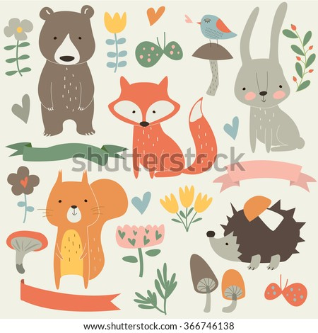 Set of forest animals in cartoon style. Cute hedgehog, birds, bear, fox, hare, mushrooms, elk, snail, squirrel, butterflies and flowers - stock vector