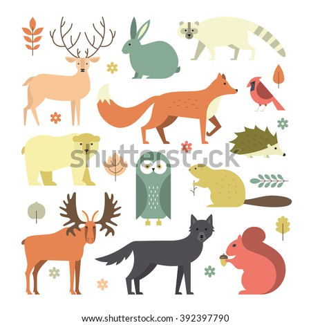 Set of forest animals made in flat style vector.  - stock vector
