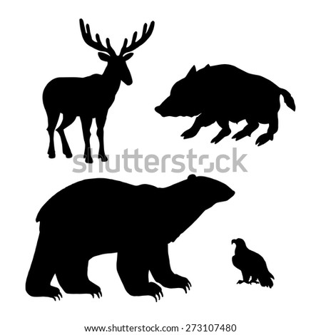 Set of forest animals silhouettes. Bear, wild boar, eagle, deer. Vector illustration. - stock vector