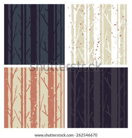 Set of 4 forest trees seamless pattern. Trendy and stylish background - stock vector