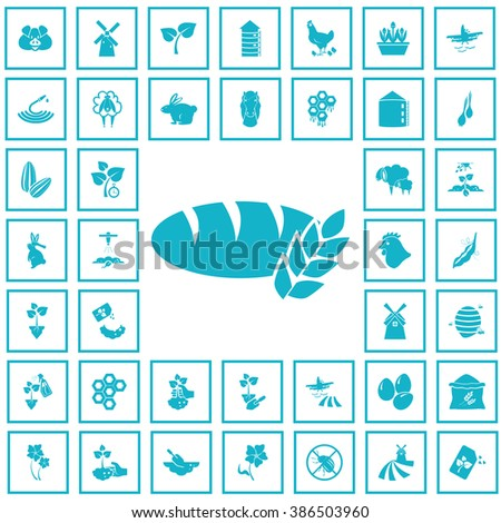 Set of forty agriculture icons - stock vector