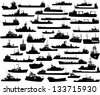 Set of 45 (forty five) silhouettes of sea yachts, towboat, battleship and ships - stock vector