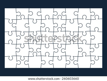 Set of forty puzzle pieces. Isolated on black background. Vector illustration, eps 8. - stock vector