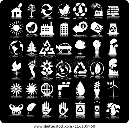 Set of 42 (forty two) ecology icons - stock vector