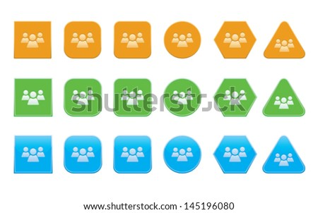 set of forum icons of different shape