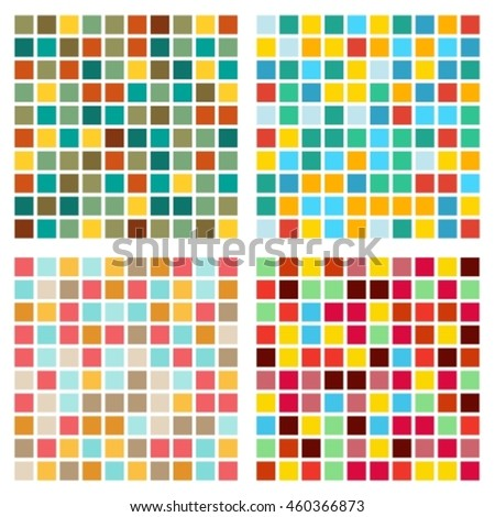 Set of four abstract bright geometrical seamless patterns.