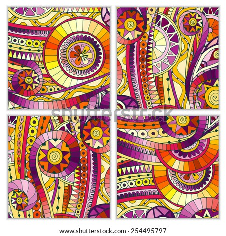 Set of four abstract doodle ethnic tribal hand drawn vector cards on wood background. Paisley batik background. Series of template frame design for card. Pattern with geometric mosaic elements.