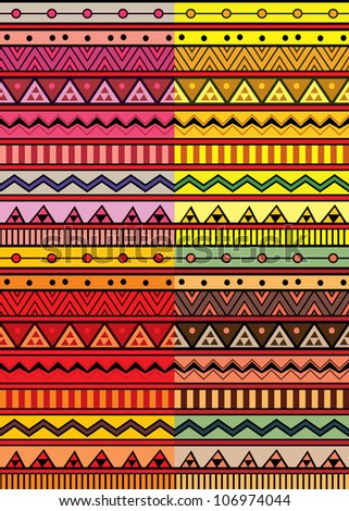 Set of four abstract geometric seamless pattern. Aztec style pattern with triangle and line - stock vector