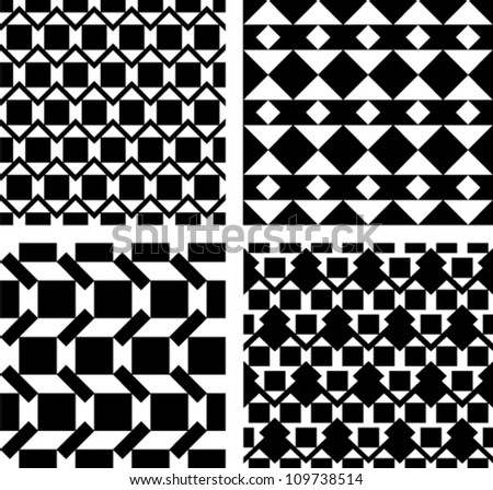 Set of four abstract seamless pattern. Black and white style pattern with triangle and lines. - stock vector