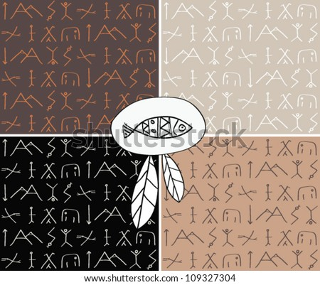 Set of four abstract seamless pattern. Ethnic style pattern with line. - stock vector