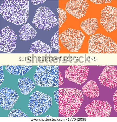 Set of four abstract seamless patterns made in vector. Vector file organized in layers for easy editing.