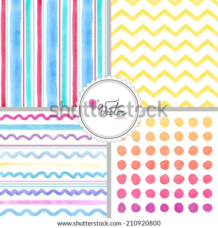 Set of four abstract seamless vector watercolor backgrounds. Hand drawing with lines, zigzags, waves and blots. - stock vector