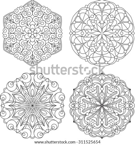 Set of four abstract vector round lace designs - mandalas, decorative elements - stock vector