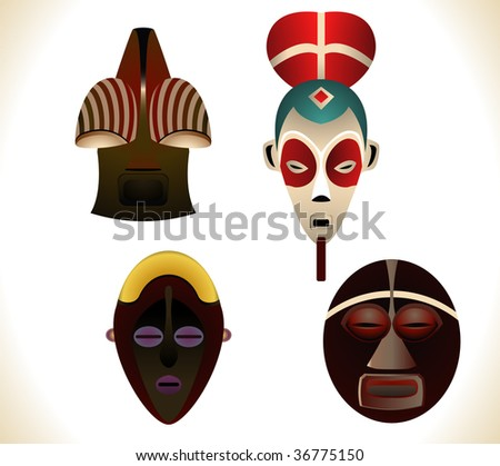 Set of four african masks. Linear and Radial gradients used. - stock vector