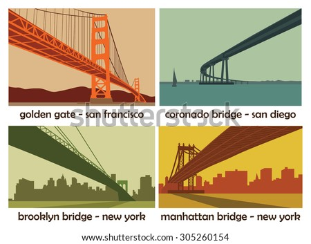set of four american cities with bridges; vintage vector landscapes  - stock vector