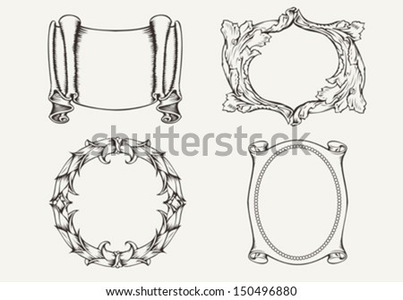 Set Of Four Ancient Banners And Frames  - stock vector