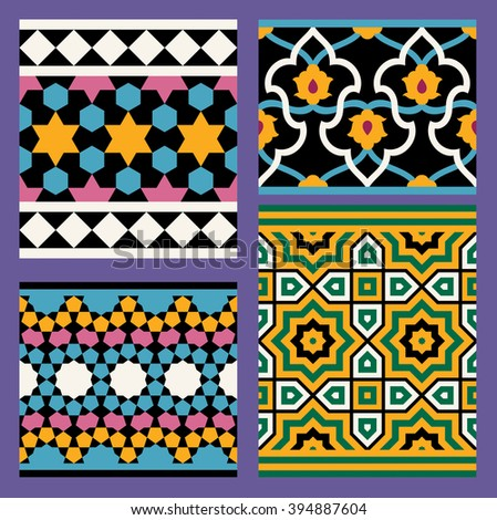 Set of Four Arabic Seamless Patterns. Traditional Arabic Islamic Background. Mosque decoration element. - stock vector