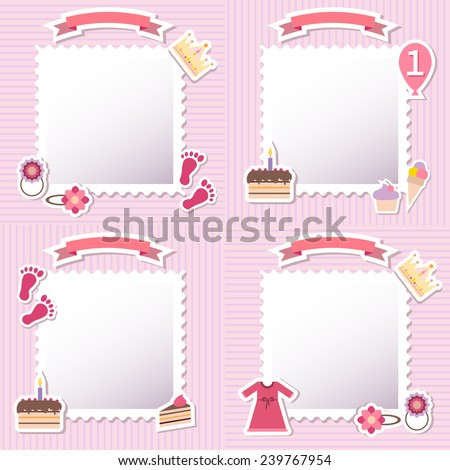 Set of four baby girl shower card