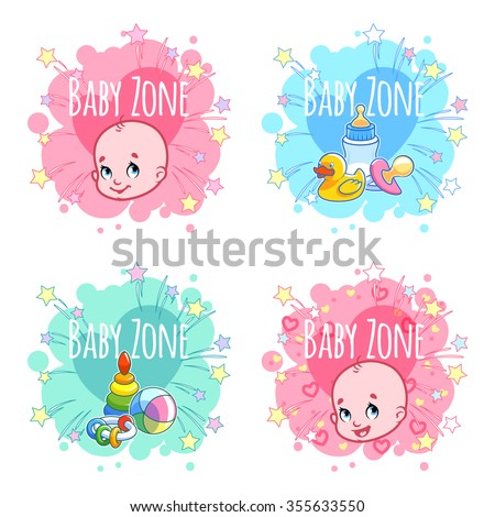 """Set of four banners """"Baby Zone"""" with portraits of infants and children's toys. Four stickers in the form of blots in pastel colors. Vector label template on a white background. - stock vector"""