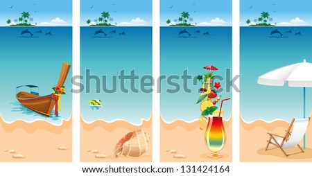 Set of four banners on vacations theme. Relaxing scene on a breezy day at the tropical beach. - stock vector