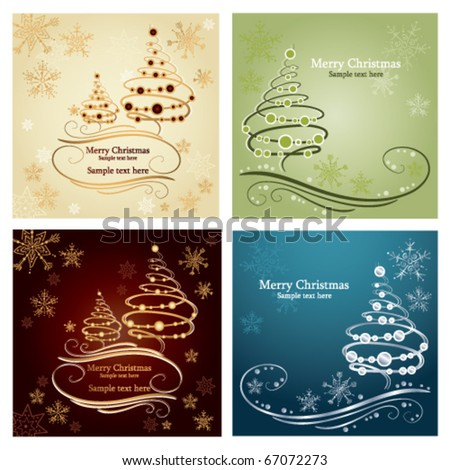 Set of four beautiful christmas card with holiday tree - stock vector