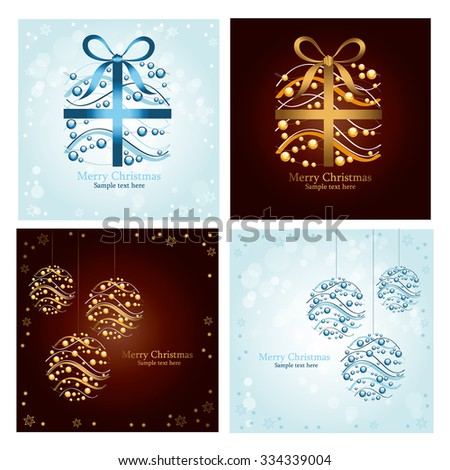 Set of four beautiful Christmas cards