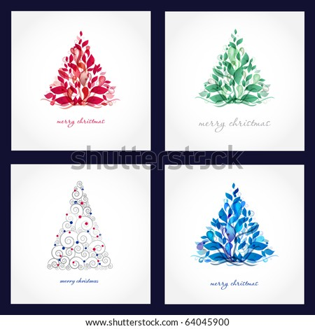 Set of four beautiful christmas cards with abstract trees. - stock vector