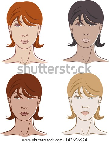 Set of four beautiful women faces - vector - stock vector