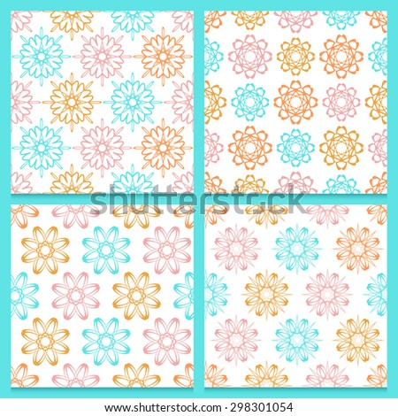 Set of four beautifully composed stylish vintage patterns with repeated abstract geometric flowers. Blue, pink and orange blooming flowers isolated on white background. Soft and joyful feminine colors - stock vector