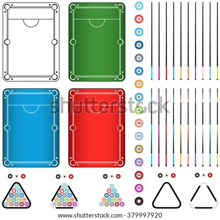 Set of four billiard tables in green, black and white, red, blue colors, balls, cue, triangle isolated on a white background - stock vector