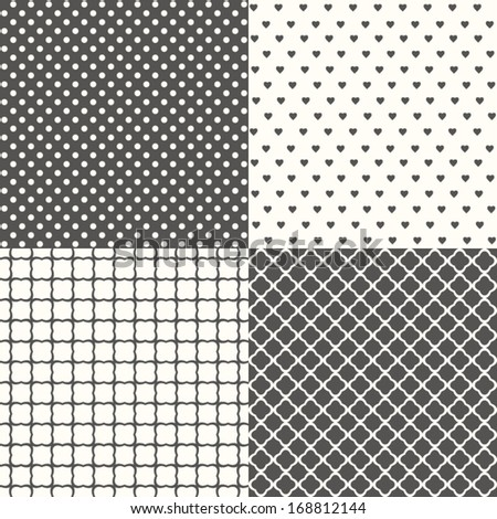 Set of four black and white seamless patterns, vector background. - stock vector