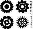 Set of four black gears on white background - stock vector
