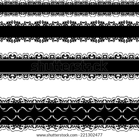 set of four black lace borders