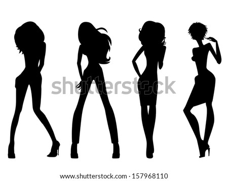 Set of four black silhouettes of fashion posing models isolated on white background, hand drawing vector illustration - stock vector