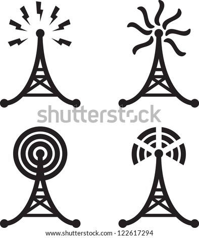 Set of four black silhouettes of radio tower - stock vector