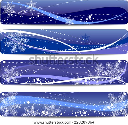 set of four blue Christmas banners with space for text - stock vector