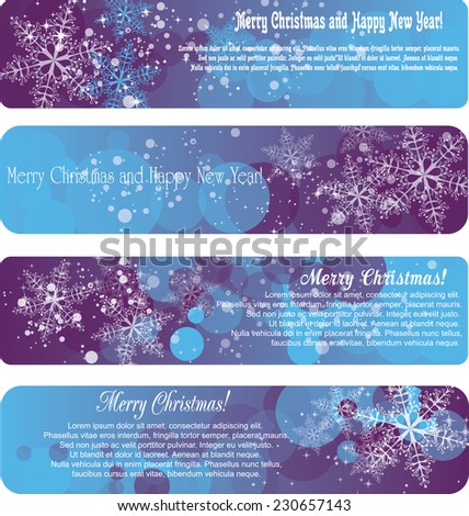 set of four blue Christmas banners with space for text