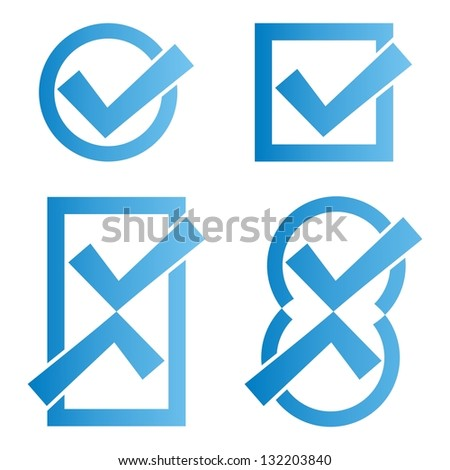 Set of four blue tick icons on white background - stock vector