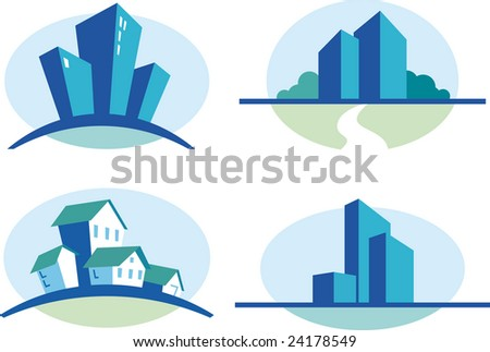 Set of four blue urban icons - stock vector